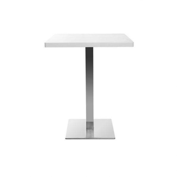 Table carrée avec pied central inox